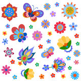 Colorful cute flowers and butterfly painted in a naive manner Royalty Free Stock Photography