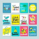 Colorful cute hand drawn summer cards, background. Stock Images
