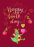 Colorful cute Happy birthday card with cheerful dragon Royalty Free Stock Photos