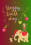 Colorful cute Happy birthday card with cheerful elephant, crocodile and monkey Royalty Free Stock Photos