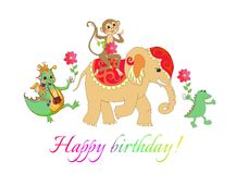 Colorful cute Happy birthday card with cheerful elephant, crocodile and monkey Royalty Free Stock Images