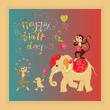 Colorful cute Happy birthday card with cheerful elephant, crocodile and monkeys Royalty Free Stock Image