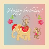 Colorful cute Happy birthday card with cheerful elephant and monkeys Stock Photos