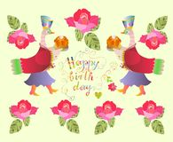 Colorful cute Happy birthday card with  fairy ducks, flowers and beautiful lettering. Royalty Free Stock Image