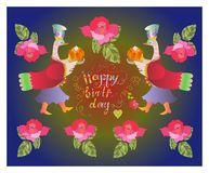 Colorful cute Happy birthday card with fairy ducks, flowers and beautiful lettering. Royalty Free Stock Images