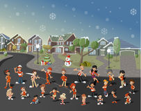 Colorful cute happy cartoon people Royalty Free Stock Image