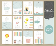 Colorful cute monthly calendar 2017 with bear,giraffe,lion,whale Stock Images