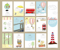Colorful cute monthly calendar 2017 with bus,airplane,balloon,ca. Mera on summer travel vacation.Can be used for web,banner,poster,label and printable Stock Images