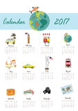 Colorful cute monthly calendar 2017 with bus,airplane,balloon,ca. Mera on summer travel vacation.Can be used for web,banner,poster,label and printable Royalty Free Stock Photo