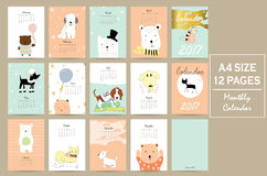 Colorful cute monthly calendar 2017 with cat,dog,bear and balloons Royalty Free Stock Images