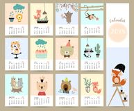 Colorful cute monthly calendar 2018 with fox,bear,cactus,flower,. Monkey,cake,skunk and tiger.Can be used for web,banner,poster,label and printable Royalty Free Stock Images
