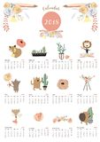 Colorful cute monthly calendar 2018 with fox,bear,cactus,wreath, Royalty Free Stock Photography