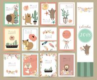Colorful cute monthly calendar 2018 with fox,bear,cactus,wreath, Stock Image
