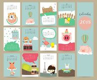 Colorful cute monthly calendar 2018 with fox,bear,tiger,pig,flamingo,duck,girl and giraffe.Can be used for vector illustration