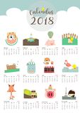 Colorful cute monthly calendar 2018 with fox,bear,tiger,pig,flam Royalty Free Stock Photo