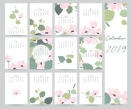 Colorful cute monthly calendar 2019 with leaf,flower.Can be used. For web,banner,poster,label and printable royalty free illustration