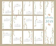 Colorful cute monthly calendar 2018 with leaf and flower.  Royalty Free Stock Image