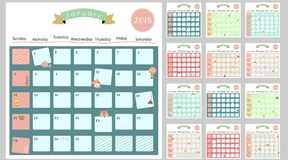 Colorful cute monthly calendar 2018 with lion,fox,cat,bear,ballo Royalty Free Stock Image