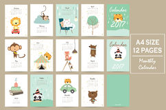 Colorful cute monthly calendar 2017 with lion,tiger,panda,tree a Royalty Free Stock Photo