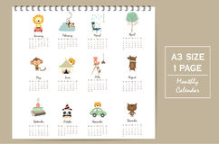 Colorful cute monthly calendar 2017 with lion,tiger,panda,tree a. Nd bear travel vacation.Can be used for web,banner,poster,label and printable Royalty Free Stock Image