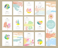 Colorful cute monthly calendar 2017 with pink,blue,green color Royalty Free Stock Photo