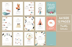 Colorful cute monthly calendar 2017 with tent,whale,feather,arro. W,fox and wild.Can be used for web,banner,poster,label and printable Stock Image
