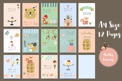 Colorful cute monthly calendar 2018 with whale,tree,monkey,cake, Royalty Free Stock Image