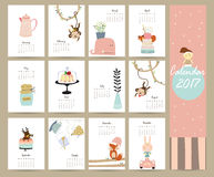 Colorful cute monthly calendar 2017 with whale,tree,monkey,cake Royalty Free Stock Photo