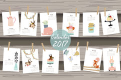 Colorful cute monthly calendar 2017 with whale,tree,monkey,cake. And rabbit.Can be used for web,banner,poster,label and printable Stock Photo