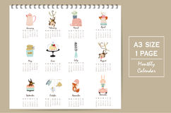 Colorful cute monthly calendar 2017. With whale,tree,monkey,cake and rabbit.Can be used for web,banner,poster,label and printable Stock Photo