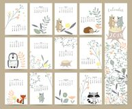 Colorful cute monthly calendar 2018 with wild,fox,bear,skunk,lea Stock Images