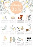 Colorful cute monthly calendar 2018 with wild,fox,bear,skunk,lea Royalty Free Stock Photos