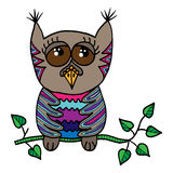 Colorful cute owl sits on a branch with leaves. Picture for adult coloring book page design, child magazine, banner, template Stock Photo