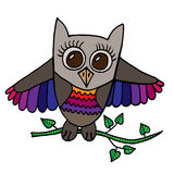 Colorful cute owl sits on a branch with leaves. Picture for adult coloring book page design, child magazine, banner, template Royalty Free Stock Photos
