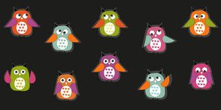 Colorful cute owl vector background Royalty Free Stock Image