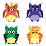 Colorful cute owls. Vector set of colorful cute owls Royalty Free Stock Image
