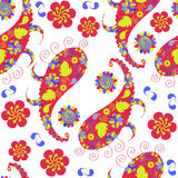 Colorful cute  Paisley seamless pattern and seamless pattern in Stock Photography