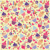Colorful Cute  pattern  background with cupcakes Royalty Free Stock Images