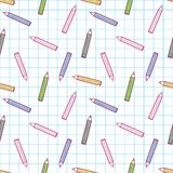 Colorful and cute pen pattern on checked background. Cute colorful pen pattern on checked background Vector Illustration