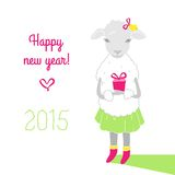 Colorful, cute sheep in boots with gift. Happy new year. Greetin Royalty Free Stock Photography