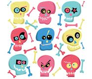 Colorful Cute Skull Elements royalty free illustration