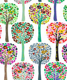 Colorful cute trees and birds pattern Royalty Free Stock Image