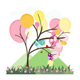 Colorful cute trees with love birds vector,birds in love Stock Photo