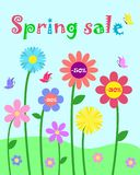 Colorful cute whimsy flowers and butterfly set, spring sale and royalty free illustration
