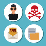 Colorful cyber security system design. Hacker skull file and envelope icon. Cyber security system warning and protection theme. Vector illustraton Royalty Free Stock Photography