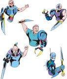 Colorful cyborgs. Set of biomechanical vector illustrations Stock Photos