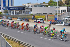 Colorful cycle race. SASSARI, ITALY - May 5th 2017: group of cyclists during 100th giro d`italia cycle race Stock Photos