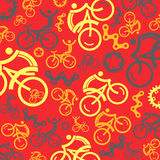 Colorful cycling background with cycling icons. Vector illustrations. Stock Image