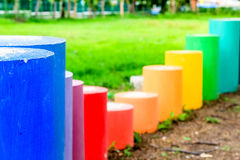 Colorful cylinder shape on the kid playground Stock Photo