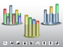 Colorful cylindrical graphs with icons. Three different growth charts with nine icons Stock Photos